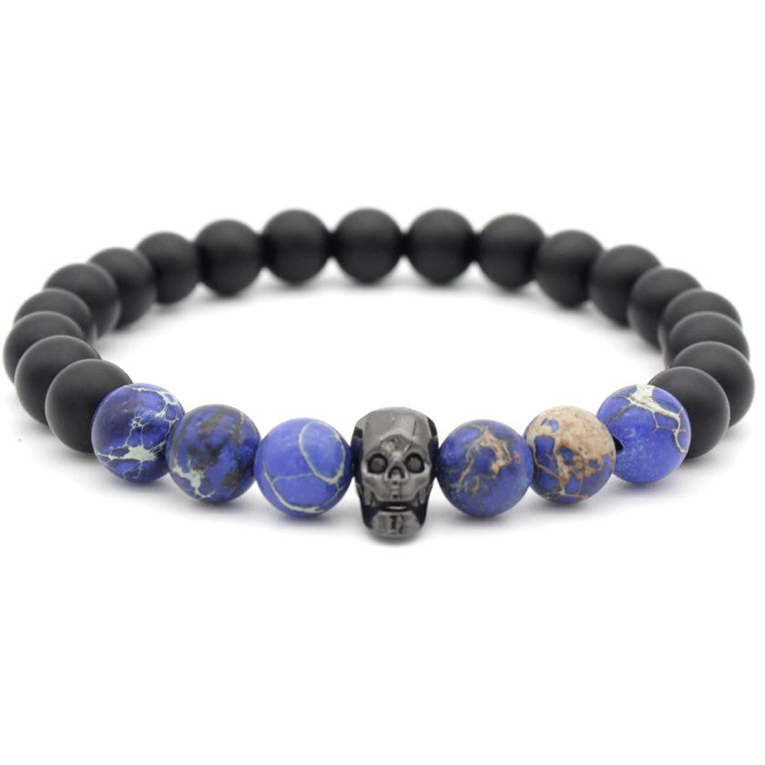 Bracelet tête de mort avec perles d'onyx et de jaspe impérial