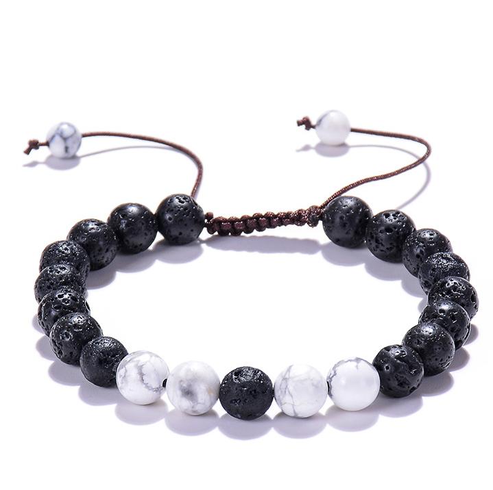 Bracelet ajustable perles de howlite et pierre de lave