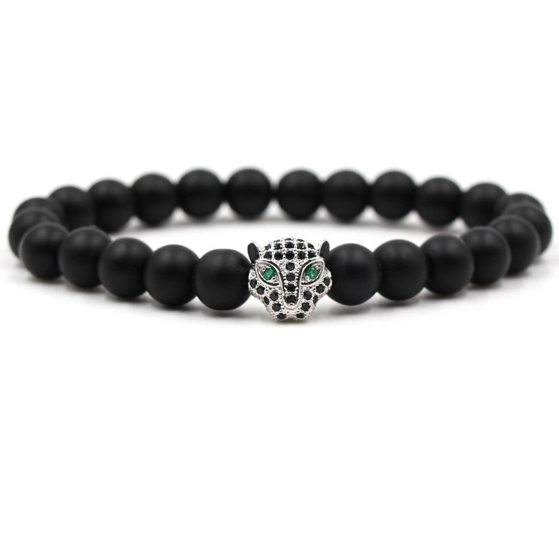Bracelet tête de léopard et perles d'onyx mate noir