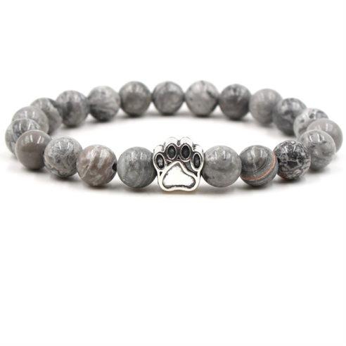 Bracelet patte de chien avec perles de jaspe