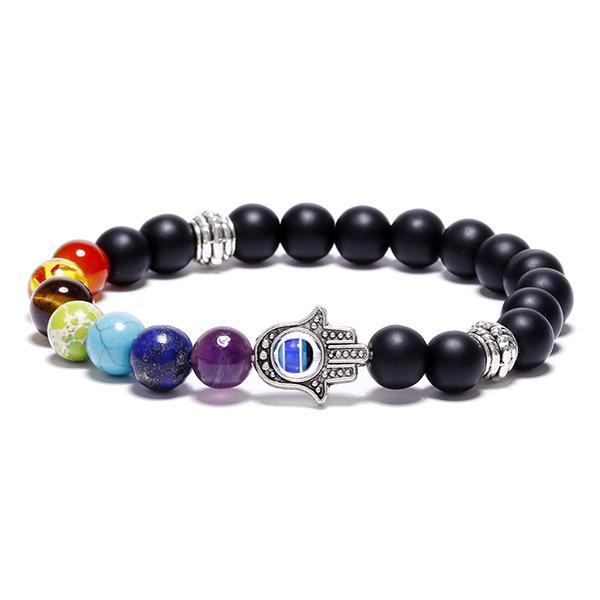 Bracelet Hamsa, 7 chakras et perles d'agate noire