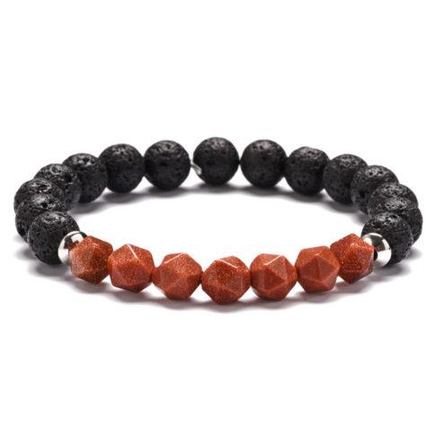 Bracelet homme en perles de sable triangulaires et pierre de lave