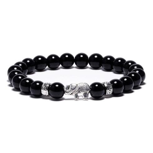 Bracelet éléphant et perles d'onyx brillantes