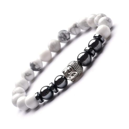 Bracelet bouddha avec perles de howlite et d'hématite