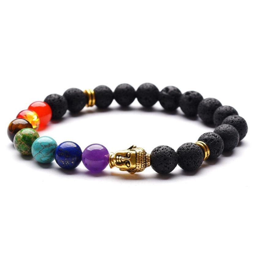 Bracelet bouddha orné de 7 perles de couleur symbolisant les 7 chakra et de perles de pierre de lave noire