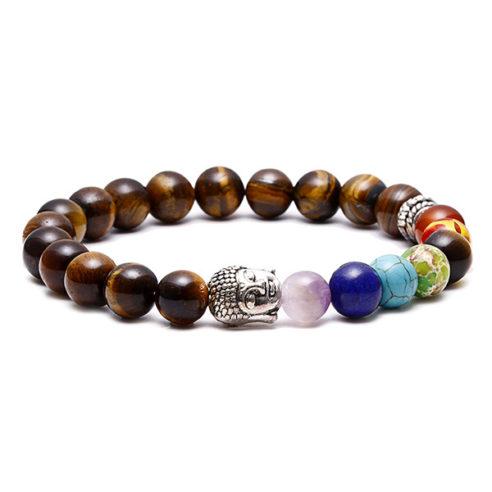 Bracelet bouddha, 7 chakras et perles œil de tigre