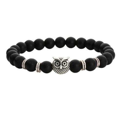 Bracelet tête de hibou et perles d'onyx mate noir