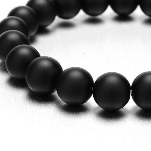 Bracelet tête de lion et perles d'onyx mate noir