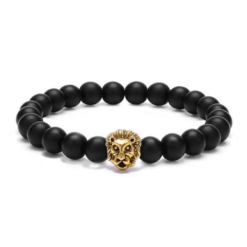 Bracelet tête de lion couleur or et perles d'onyx mate noir