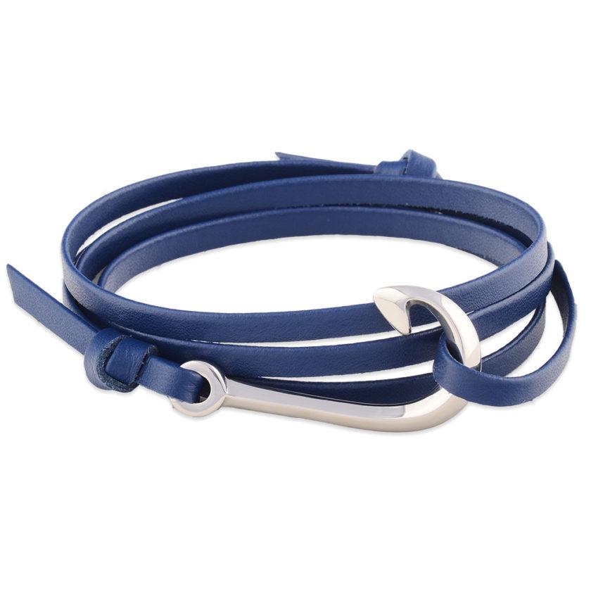 Bracelet nautique en cuir bleu avec hameçon en acier inoxydable