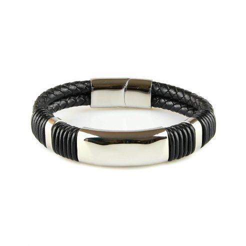 Bracelet en cuir noir avec plaque en acier inoxydable entourée de cordage