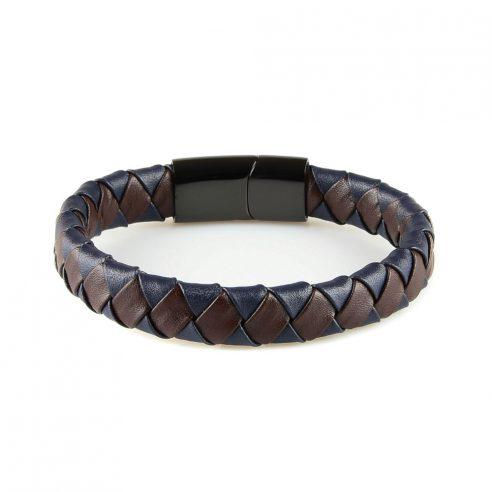 Bracelet en cuir synthétique bleu et marron tressé et fermoir en acier inoxydable noir