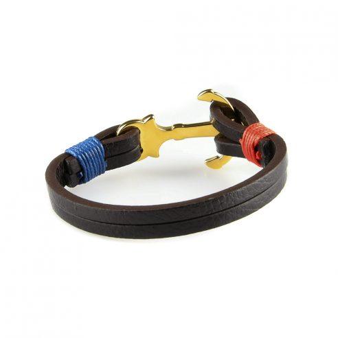 Bracelet en cuir noir avec fermoir ancre en acier inoxydable couleur or