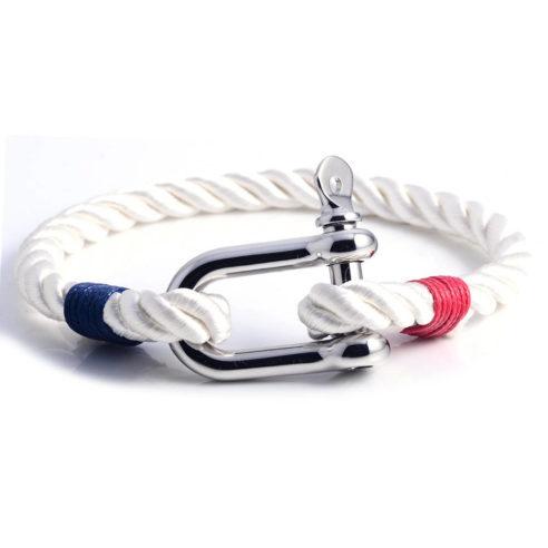 Bracelet nautique bleu blanc rouge avec manille en acier inoxydable