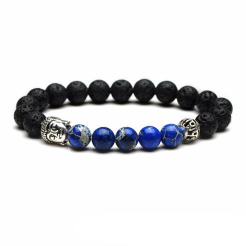 Bracelet bouddha avec perles de jaspe impérial bleu et perles pierre de lave noires