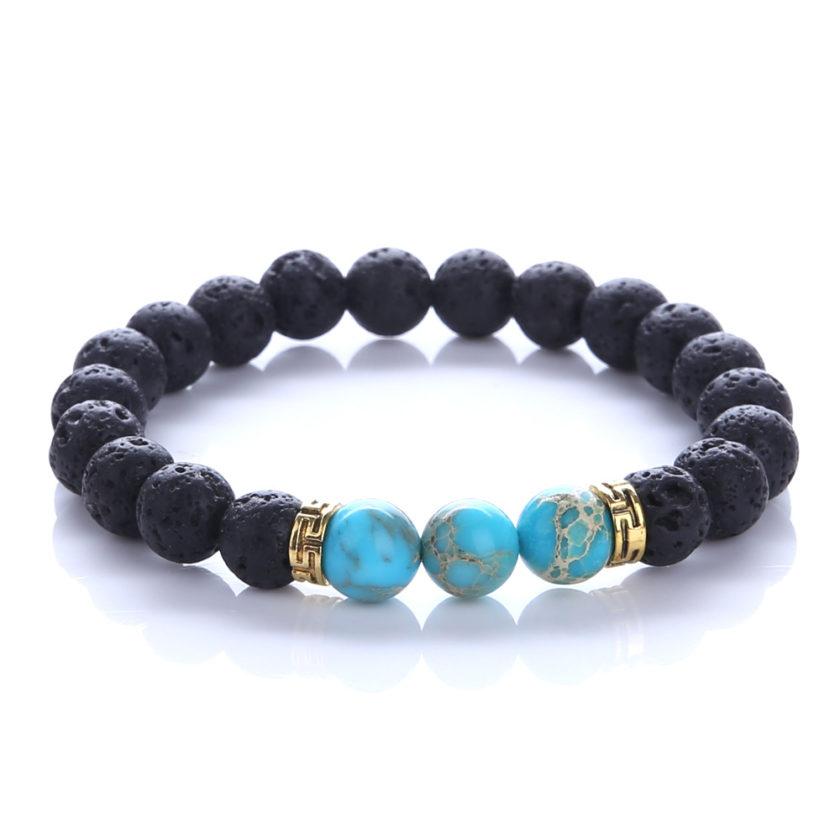 Bracelet en perles de jaspe impérial et pierre de lave