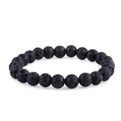 Bracelet en perles de pierre de lave noire