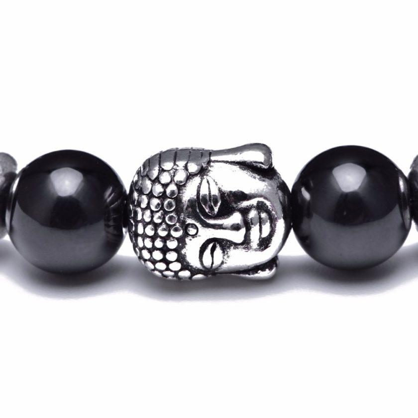 Bracelet bouddha avec perles d'agate noir