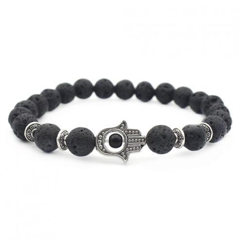 Bracelet Hamsa avec perles de pierre de lave