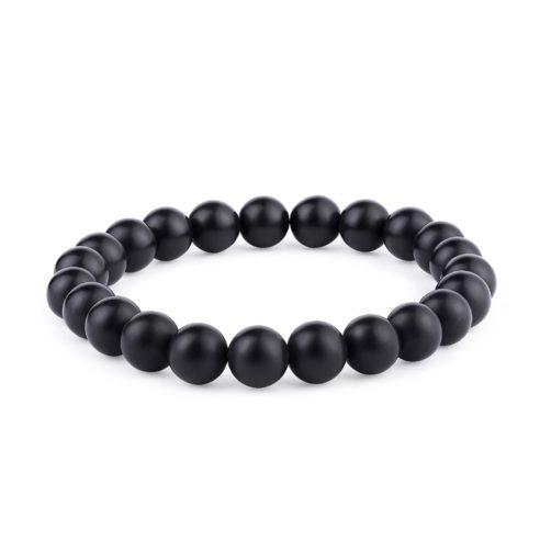 Bracelet en perles d'onyx mate noir
