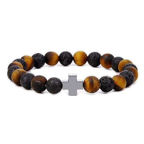 Bracelet avec élégante croix, perles œil de tigre et pierre de lave