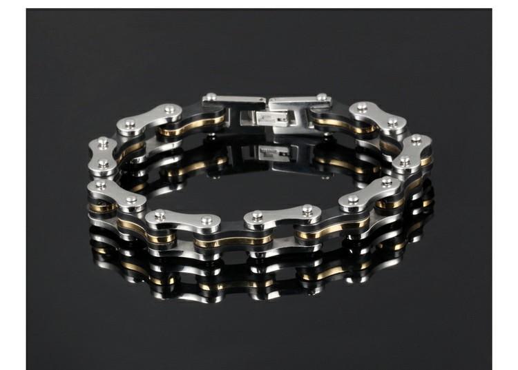 Bracelet en acier inoxydable noir et or