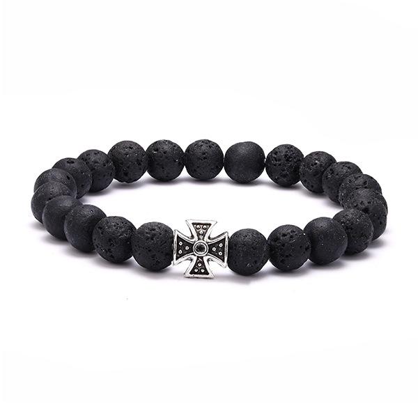Bracelet croix antique et perles de pierre de lave