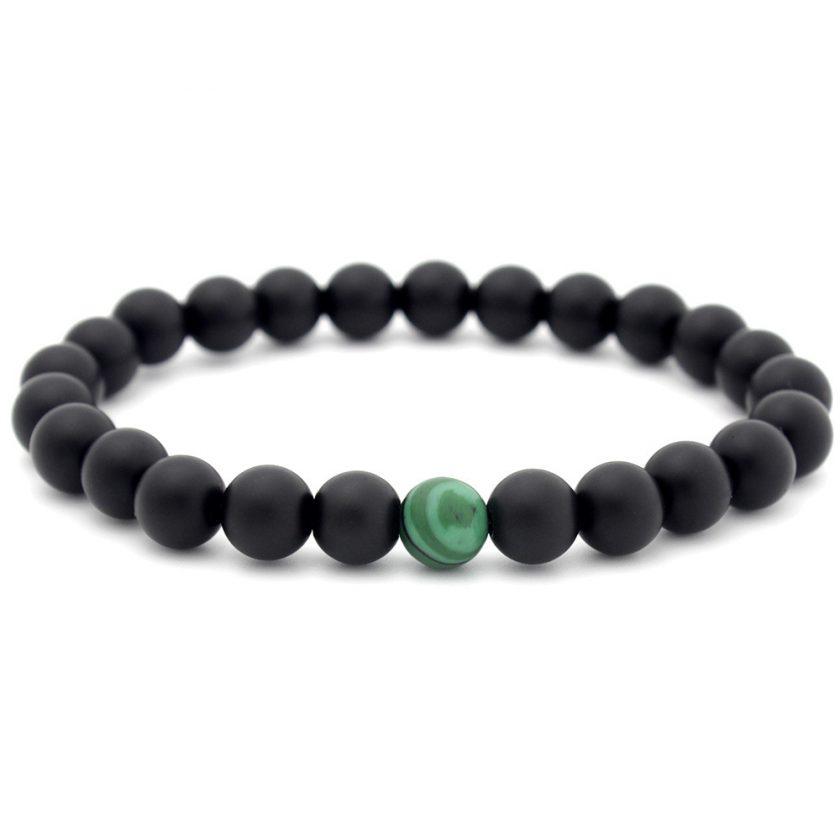 Bracelet en perles d'onyx mate noir et malachite