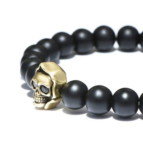 Bracelet tête de mort et perles d'agate mate noire