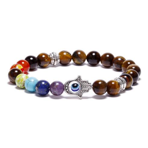 Bracelet Hamsa, 7 chakras et perles œil de tigre