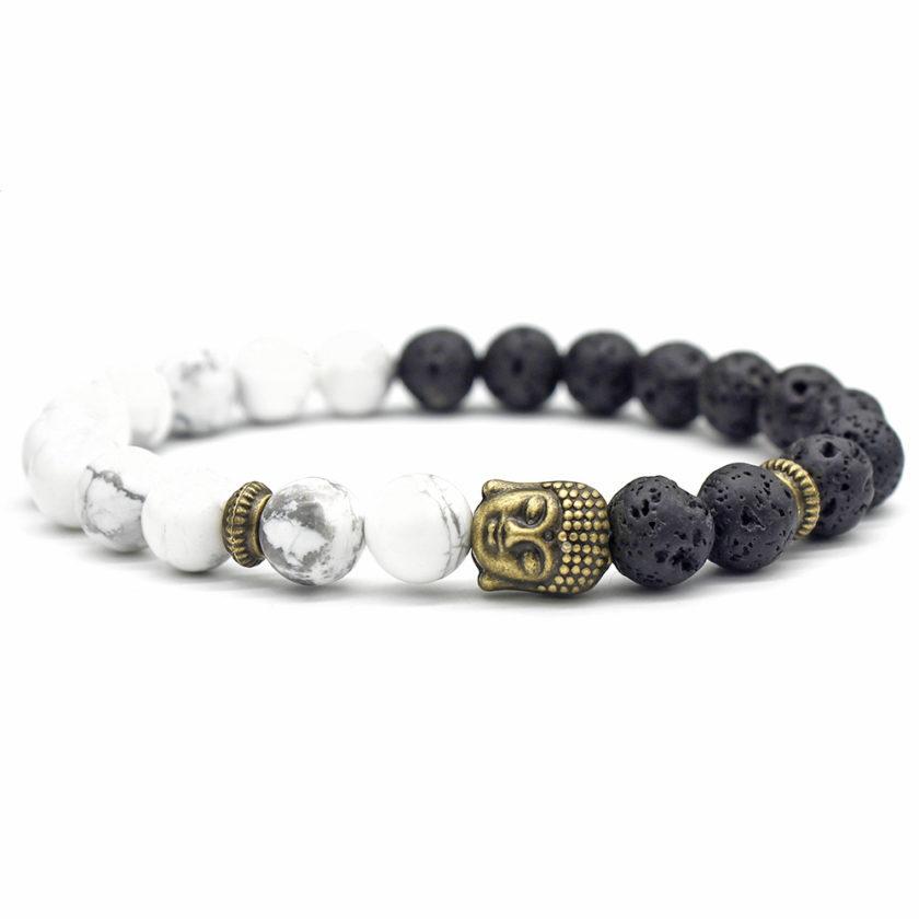 Bracelet bouddha avec perles de howlite et pierre de lave