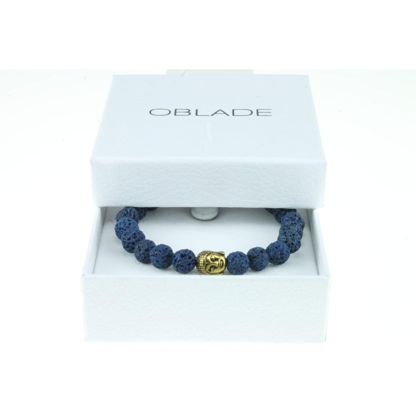 Bracelet bouddha et perles de pierre de lave bleue