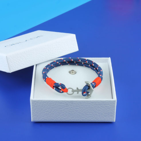 Bracelet en nylon bleu marine et ancre en acier inoxydable