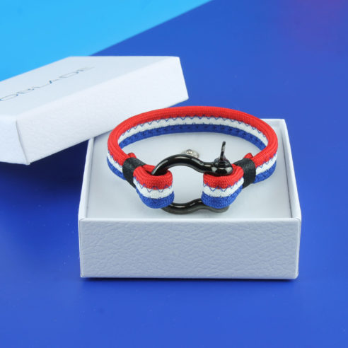 Bracelet tricolore avec fermoir manille en acier inoxydable noir