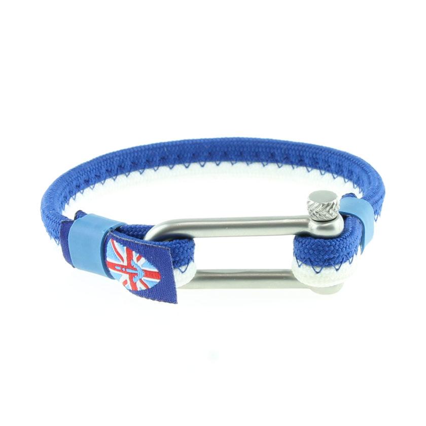Bracelet nautique bleu et blanc avec manille en acier inoxydable
