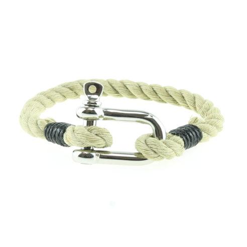 Bracelet nautique beige et noir avec manille en acier inoxydable