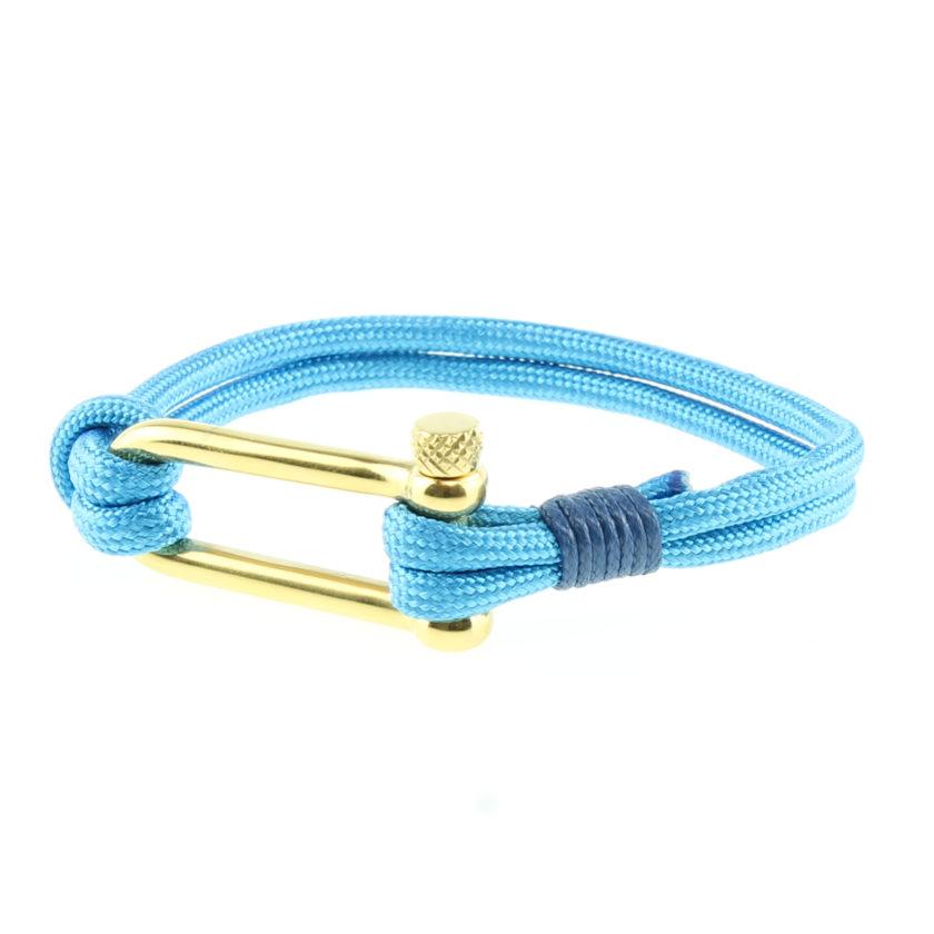 Bracelet bleu ciel avec fermoir manille en acier inoxydable