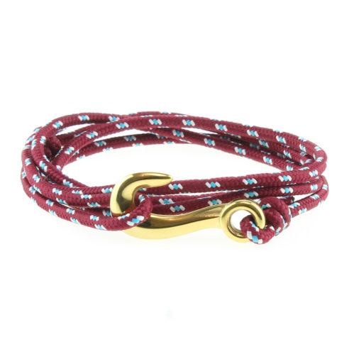 Bracelet en nylon rouge à points bleus et blancs avec fermoir en forme d'hameçon en acier inoxydable