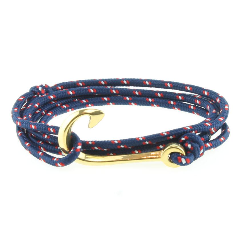 Bracelet nautique bleu avec hameçon en acier inoxydable
