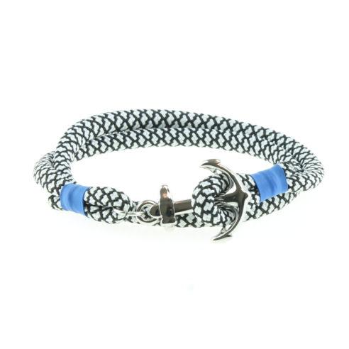 Bracelet en nylon noir et blanc et fermoir ancre en acier inoxydable