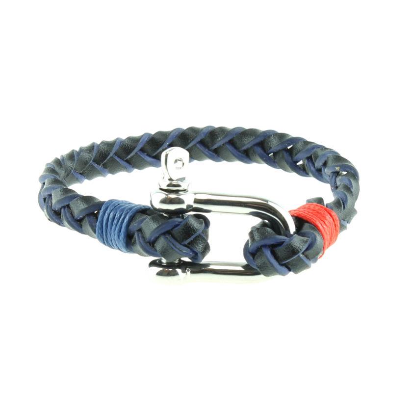 Bracelet nautique en cuir tressé avec manille en acier inoxydable