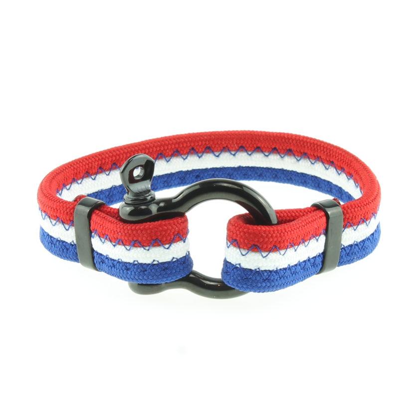 Bracelet bleu blanc rouge avec fermoir manille en acier inoxydable noir