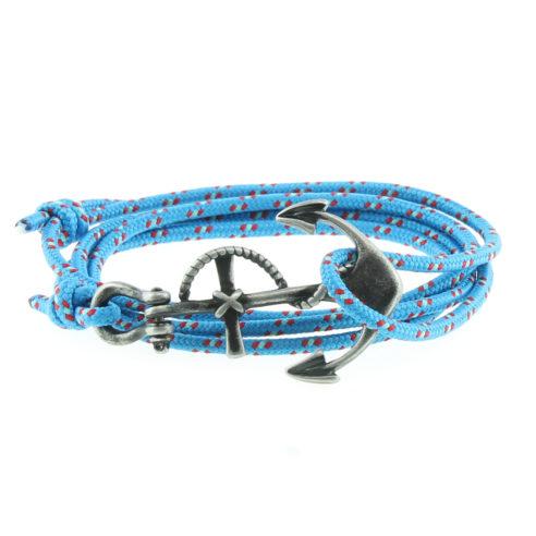 Bracelet multi-tours en nylon bleu ciel avec ancre en acier inoxydable