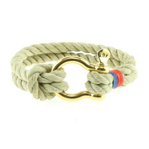 Bracelet en corde de coton avec fermoir manille en acier inoxydable or