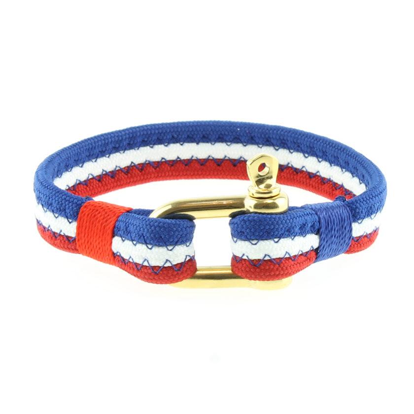 Bracelet bleu blanc rouge avec fermoir manille en acier inoxydable or