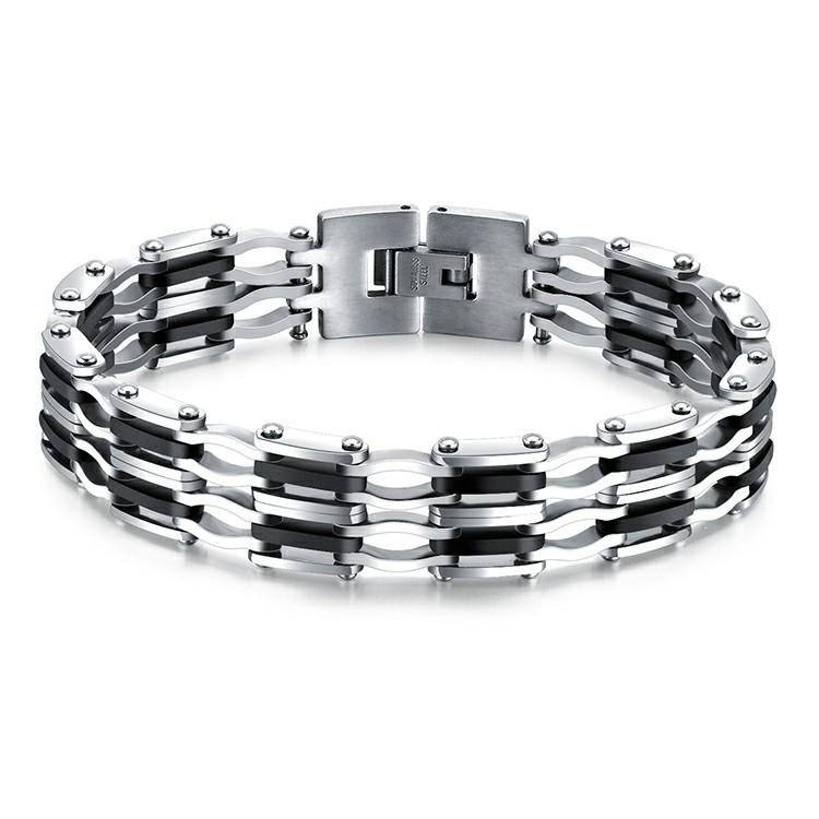 Bracelet en acier inoxydable argent et noir avec maillons plats et ondulés
