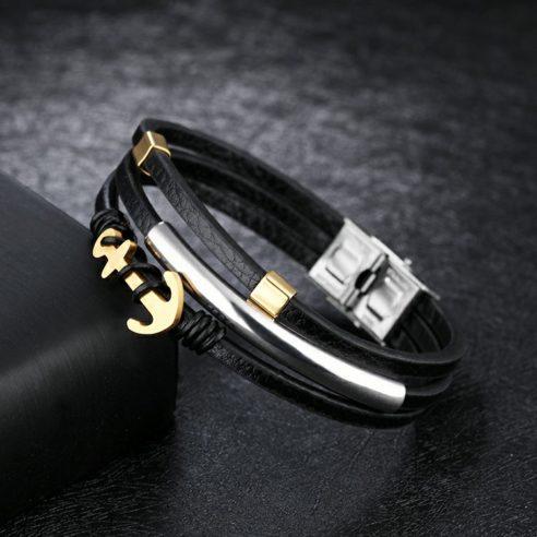 Bracelet en cuir noir avec ancre en acier inoxydable plaquée or