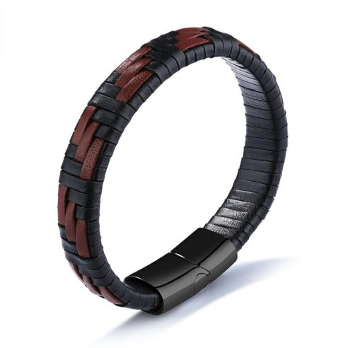 Bracelet en cuir tressé noir et marron et fermoir en acier inoxydable