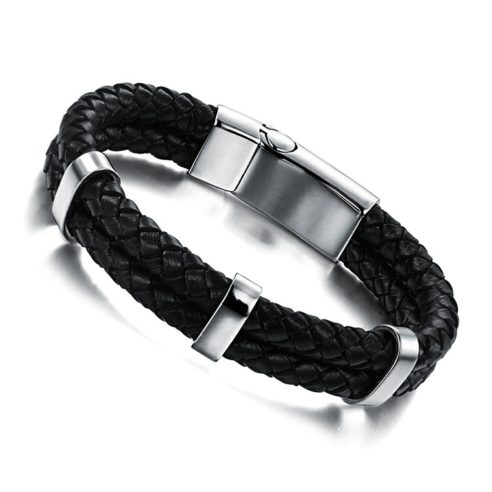 Bracelet en cuir tressé noir et fermoir en acier inoxydable