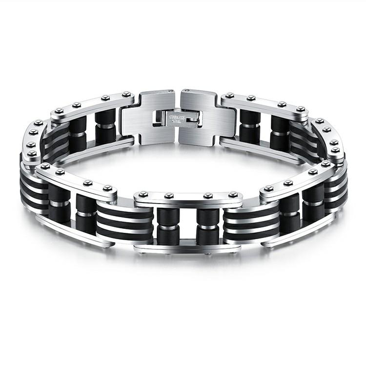 Bracelet en acier inoxydable argent et noir